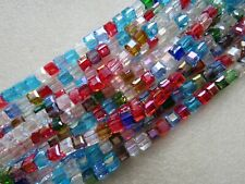 100 Square Cube Glass Beads Beautiful Faceted Crystal 17 Colours Sizes 4 6 8mm