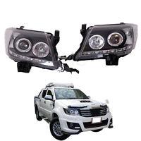 Fit 12-15 Toyota Hilux Sr5 Vigo Head Lamp Light Projector Led Drl Black Tint