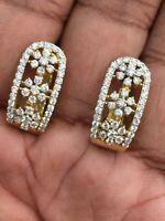 1,42 Cts Runde Brilliant Cut Diamanten Creolen Ohrringe In 585 Solides 14K Gold