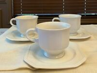 Set of 3 MIKASA china CONTINENTAL WHITE F3000 CUPs & SAUCERs EXCELLENT CONDITION