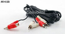 12ft. 2-RCA Male to 2-RCA Male + 2-RCA Female Piggy-Back Stereo Audio Cable