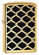 Zippo 28675 chain link fence design high polish brass full size Lighter