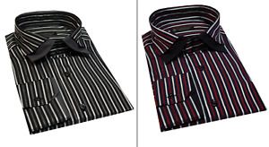 Men's Slim Fit Double Collar Striped  Long sleeve Casual Shirt Cotton Size S