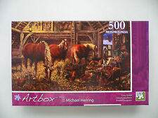 """Art by Michael Herring """"Cozy Stable"""" 500 Piece Puzzle Bn"""