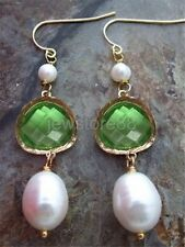 10x13mm White Rice freshwater Pearl green crystal Gold Plated Hook Earrings