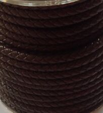 Brown Braided Genuine Leather Cord. 5mm. UK Seller
