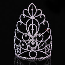 18cm Tall Large Full Crystal Wedding Bridal Party Pageant Prom Tiara Crown Combs