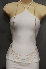 Women Gold Metal Body Chains Long Necklace Jewelry Harness Multi Waves Classic