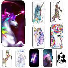 Unicorn Cute Rainbow Horse Leather Wallet Flip Phone Case Cover iPhone Samsung