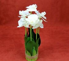 """Butterfly Orchid Artificial Bouquet Home Decor Fake Flower 7 Branch High 13 in"""""""