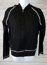 Lucy Womens Athletic Jacket Sz Medium Black White Trim Hooded Zip Up