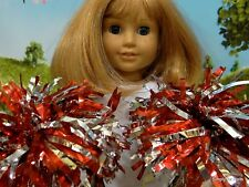 """**SALE** Set 2 RED & SILVER Cheerleader POM POMS fits 18"""" AMERICAN GIRL DOLL"""