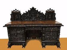 RARE !!! ORIGINAL ANTIQUE ENGLAND WRITING DESK TABLE HEAVELY CARVED 1870