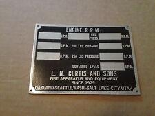 LN Curtis & Sons Metal Fire Truck Specs Plaque Emblem Badge Ornament Sign Trim