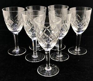 7 Wine Sherry Cordials Crystal Glasses Aperitif Multi Sided Stem