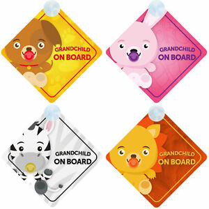 Grandchild on Board Car Sign for Grandson/Granddaughter Choice - Animal Themed