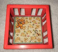 =Vintage Fisher Price Little People Pink Play Pen Playpen Baby Bed Crib Nursery