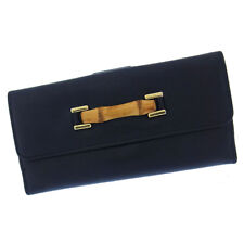 Gucci Wallet Purse Long Wallet Bamboo Black Beige Woman Authentic Used Y1918