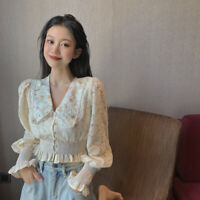 Women Blouse Shirt Crop Top Ruffle Lace Floral Puff Long Sleeve V-neck Retro New