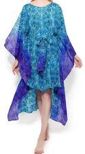 GOTTEX Caftan Cover Up - 100% soie-Small-Chameleon-Bleu - £ 275-NEUF-Piscine Robe