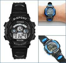 Black Girls Boys Sport Wrist Watch Water Resistant Digital Quartz Alarm Function