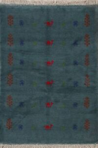 Little/Character Animals Tribal Teal Green Gabbeh Hand-Knotted Wool Area Rug 3x5
