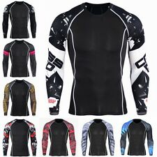 Mens Compression Under Base Layer Sport Gym Top Tight Long Sleeves T-shirt New