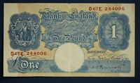 "1940 Bank of England One pound £1, Peppiatt ""D67E 244006"" banknote *[16811]"