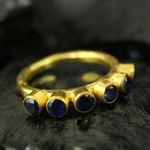 Handmade Hammered Six Stoone Sapphire Ring Yellow Gold over 925K Sterling Silver