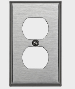 LEVITON Stainless Steel SILVER 1 Gang DUPLEX OUTLET WALL PLATE 84003-000