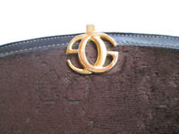 Gucci vintage brown leather wallet, clutch,with monogram golden double G,vintage