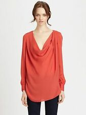 Haute Hippie Asymmetric Cowl Neck Long Sleeve Silk Blouse Top  Size M  $275.00