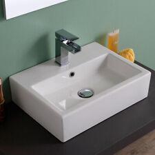 Lavabo Da Appoggio Ceramica Bianco Rettangolare Lavandino Lavello 58x46x16