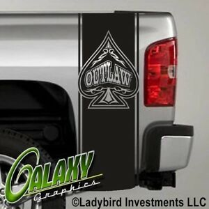 Outlaw Spade Truck Bed Decals Stripes (Pair) - Ram Chevy Ford F150 Toyota