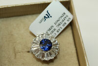 NWT 925 STERLING SILVER Simulated Diamond & Lab Created Sapphire Size 7 Ring B#