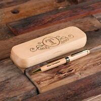 Personalized Wooden Desktop Pen Set Engraved Monogram Corporate Gift Co-worker