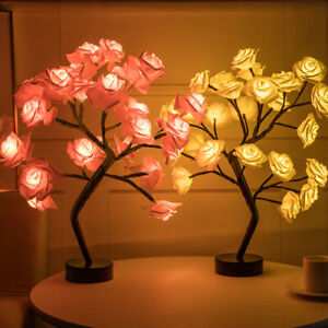 LED Night Light Rose Flower Tree USB Table Lamps Home Christmas Party Decor Gift