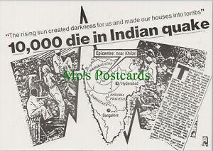 Headline Postcard - 10,000 Die in Indian Earth Quake  RR10459