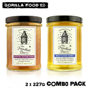 Travelling Bee Co. Wild Flower + Scottish Heather Honey - 2x 227g Combo Pack