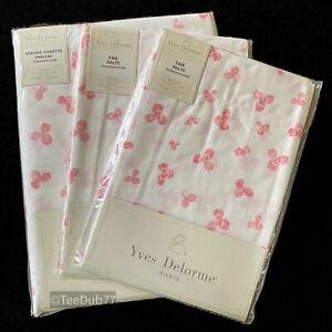 YVES DELORME Super King Duvet Cover + Pillowcases Pink Trefoil Shamrock BNIP