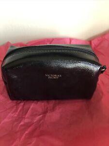 "Victorias Secret Small Cosmetic Case Makeup Bag - Black - Zip Top - 6.5"" -NWOT"