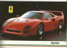 FERRARI F40,TESTAROSSA, 412, MONDIAL t/CABRIOLET,328GTB AND 328GTS BROCHURE 1989