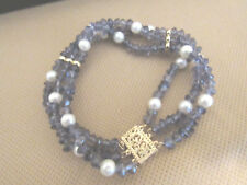 ESTATE 14K YELLOW GOLD THREE STRAND IOLITE W PEARL BRACELET-17.3 GRAMS