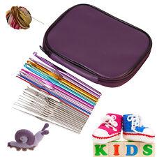 22Pcs/Set Mixed Color Aluminum Crochet Hooks Knitting Needles Case Yarn Kit New