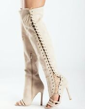 BNIB 8 NUDE LACE UP OPEN TOE CUT OUT OVER THE KNEE OTK THIGH BOOTS