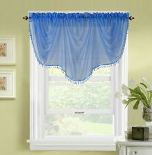 1pc BONITA NAVY BLUE VOILE SHEER VALANCE SWAG TOPPER WINDOW CRYSTAL BEAD FRINGE