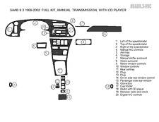 PREMIUM WOOD DASH TRIM KIT 20 PCS FITS SAAB 9-3 1999-2002 MANUAL WITH CD PLAYER