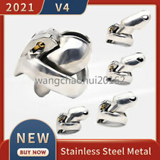 2021 New Metal V4 Male Chastity Device Set Stainless Steel Cage Lock Rings Belt