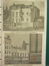 1818 fechado Antiguo London impresión ~ Dean Colet de la Cámara en Stepney St Paul's School