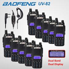 10x BAOFENG UV-82 UHF/VHF Walkie Talkie Two Way Dual Band Ham Radio + USB Cable